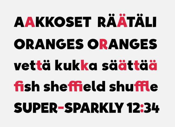 QAP font open type features