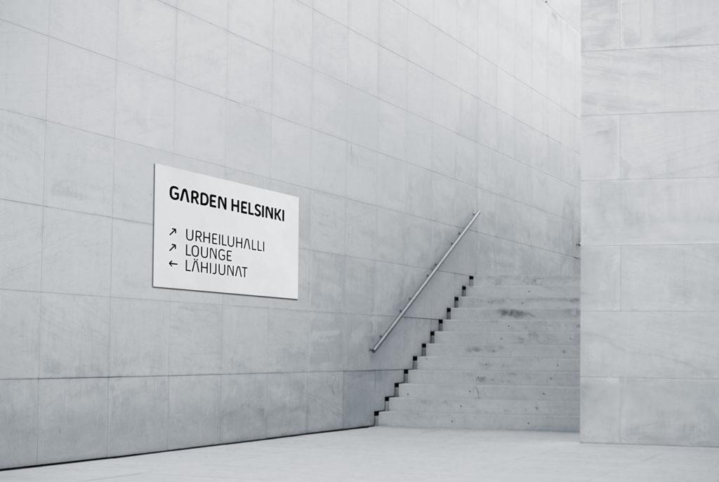Mock up of Garden Helsinki in signage use
