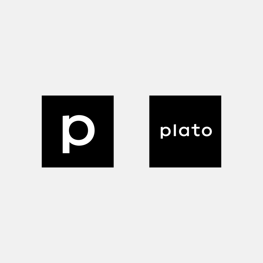 The bespoke brand typeface in use as square icon