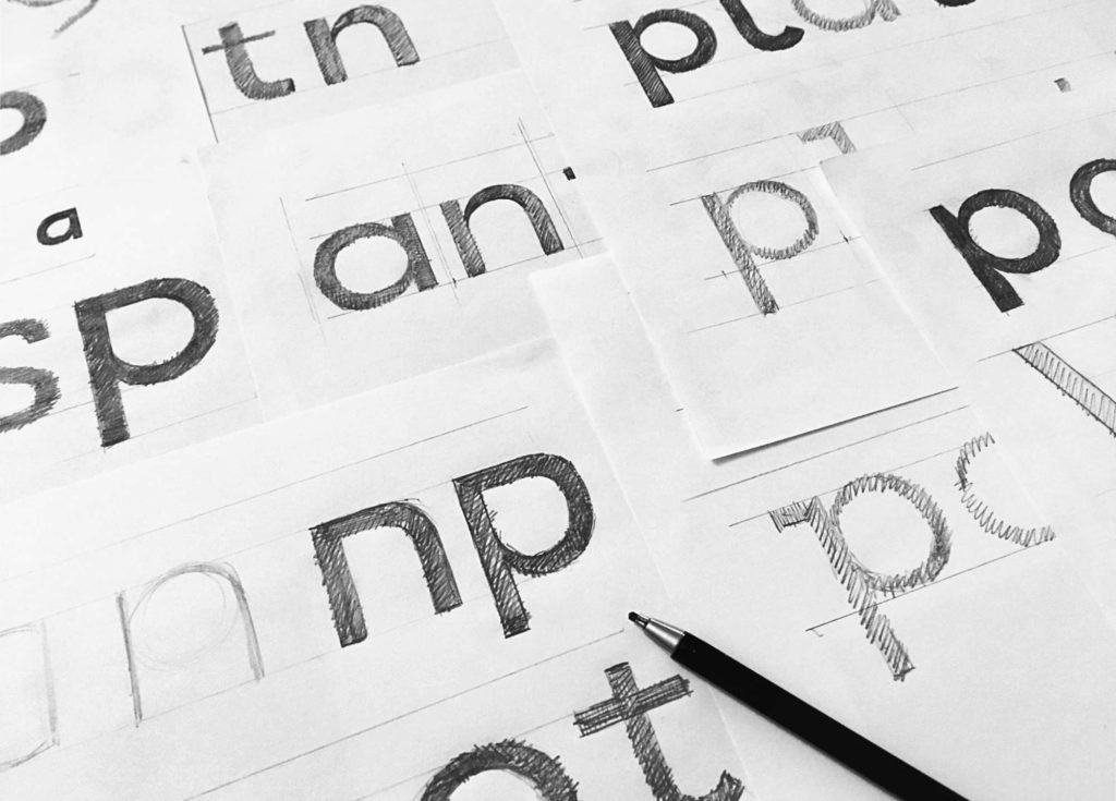 Various font sketches from early on in the type design process