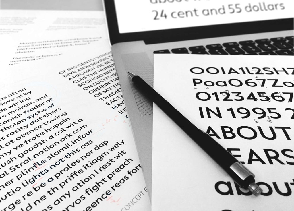 Proofing a typeface design goes back and forth between screen and prints all the time